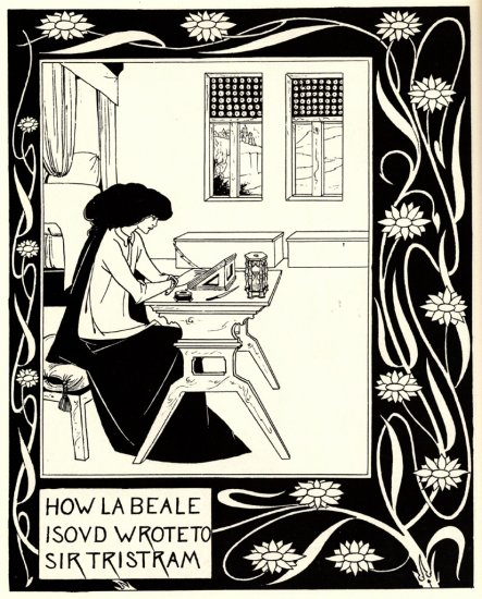 Art Nouveau Black and White Beardsley Fabric Art Panel
