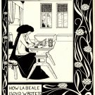 Art Nouveau Black and White Beardsley Fabric Art Panel