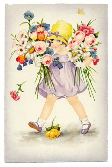 20s Cute Little Girl holding Roses and Daisies 4 x 5 1/4 Fabric Block