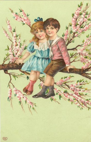 4 x 4 3/4 Victorian Boy and Girl in a Tree Fabric  Block