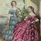 4 x 6  Fashion Plate 18 Century Ladies Cotton Twill Fabric Block