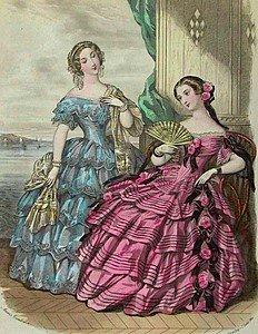 4 x 6  Fashion Plate 18 Century Ladies Cotton Twill Fabric Block