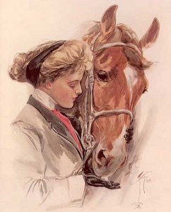 Victorian Lady with Beloved Horse Fabric Block