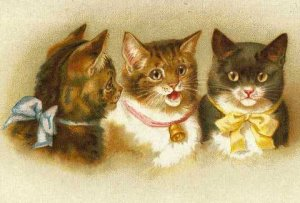 Cute Kittens with Bows and a Bell Cotton Quilt Block