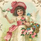 Victorian Girl with Birds and a Basket of Roses Cotton Fabric Panel