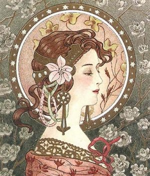 Art Nouveau Woman with Headpiece Fabric Art Panel