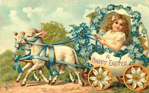 Victorian Happy Easter Girl with Lambs Cotton Fabric Panel