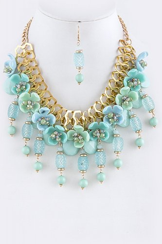 HANDMADE SPARKLY SPRING BLOSSOM BIB NECKLACE SET