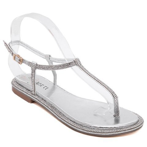 Sandals With Rhinestone Design