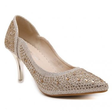 Stylish Pumps With Metallic Color and Rhinestone Design