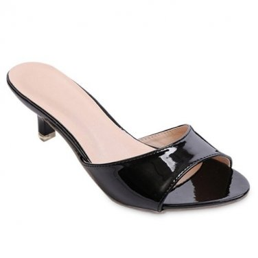 Simple Slippers With Kitten Heel