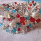 Crystal and glass bead cuff - multi-coloured