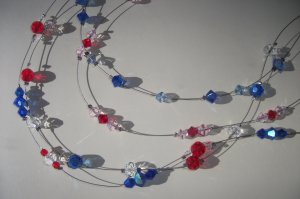 4 strand necklace - ruby, sapphire & crystal
