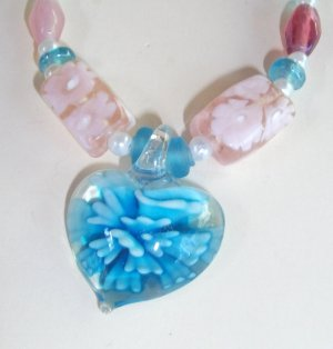 Murano style glass pendant in pastel colours