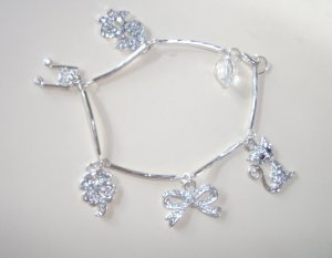 Edwardian style crystal and silver charm bracelet