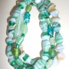 Glass bead stretch bracelet - green combination