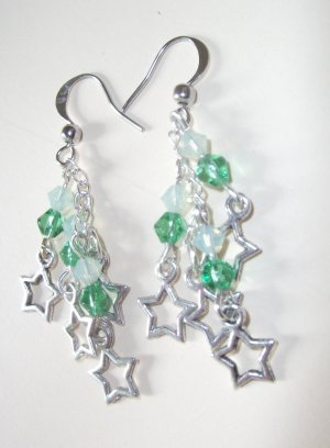 Starlight Earrings with Peridot Crystals