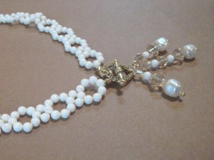 Ivory & Gold Woven Pearl Necklace