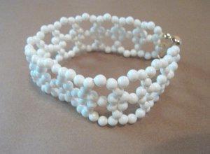 Ivory & Gold Woven Pearl Bracelet