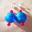 Iridescent Royal Blue & Ruby Retro Earrings