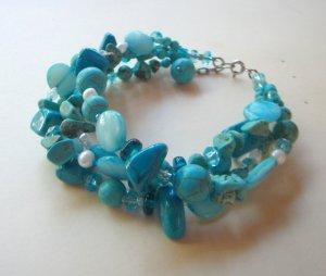 Aqua and turquoise beaded bracelet