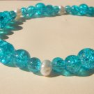 SALE - Aqua Crackle Glass Bead Necklace