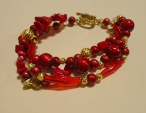 Ruby glass and crystal bead Bracelet.