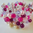 Crystal and glass bead cuff - &quot;Pinks&quot;