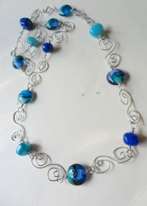 A Swirl of Blues n Silver Wire Necklace