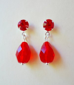 Ruby Crystal and Silver Stud Earrings