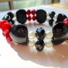 Onyx, Ruby and Pearl Bracelet