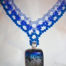 Woven Sapphire Choker with Dichroic Pendant