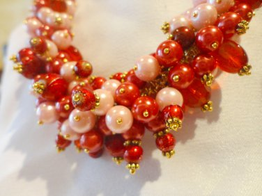 Riot of Colour - Crimson & Pink Necklace