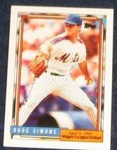 1992 Topps Debut Doug Simons #163 Mets