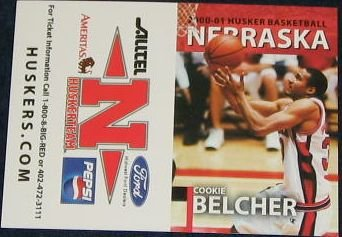 00-01 Nebraska Basketball Pocket Sked. Cookie Belcher