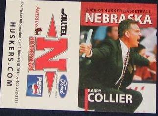 00-01 Nebraska Basketball Pocket Sked. Barry Collier