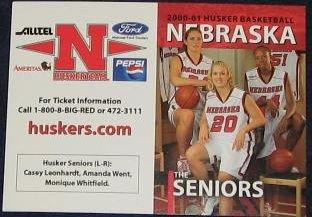 00-01 Nebraska Woman's Basketball Pocket Sked. Seniors
