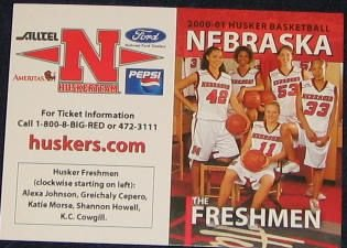 00-01 Nebraska Woman's Basketball Pocket Sked. Freshman
