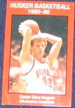85-86 Nebraska Basketball Pocket Schedule Dave Hoppen