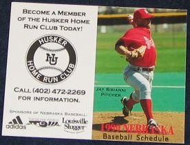 99 Nebraska Baseball Pocket Schedule Jay Sirianni