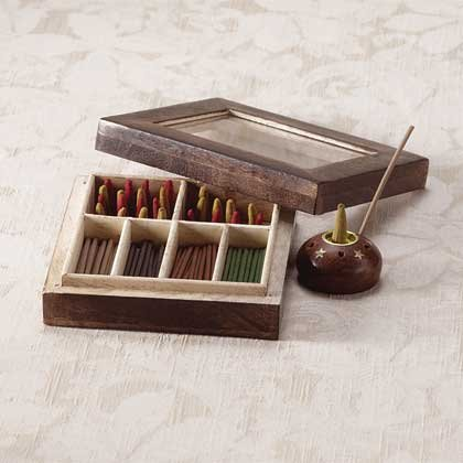 Decorated Wooden Incense Set