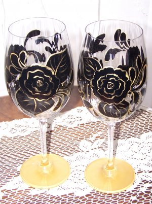 Black and Gold Floral Stemware