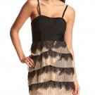 Charlotte Russe Accordion Pleat Ruffle Lace Dress (H&M Capsule Corset Dress) - Black & Nude - L