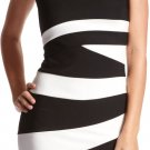 Charlotte Russe Wave Stripe Asymmetric Colorblock Bodycon Dress (bebe) - Black & White - M
