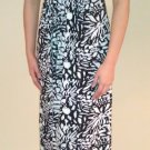 2b bebe Floral Print V Neck Empire Waist Long Maxi Dress - Black White Gray - S