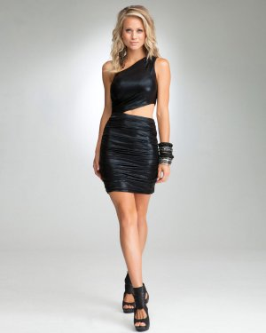 bebe One Shoulder Cutout Cut Out Croc Crocodile Dress - Black - S