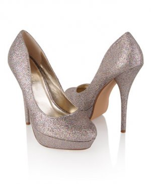 Forever 21 Pointy Metallic Glitter Platform Stiletto Pump High Heel - Multi/Pewter - 8