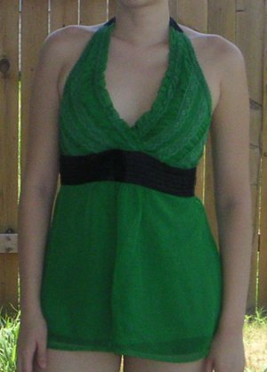 Charlotte Russe Lace Chiffon V Neck Halter Empire Tie Waist Top Tunic Blouse - Green & Black - M