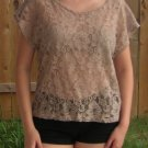 Forever 21 All Lace Pocket Short Sleeve T Shirt Top Blouse - Nude/Taupe - S