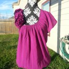 bebe Rosette Floral Asymmetric Tunic Top Mini Dress - Purple/Plum/Fuchsia - S
